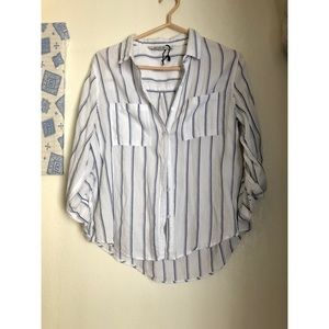 COTTON ON Blue & White Stripped Button Down Top